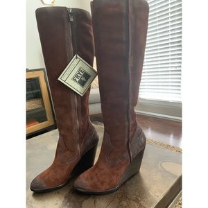 Frye Tall Suede Wedge Boots New